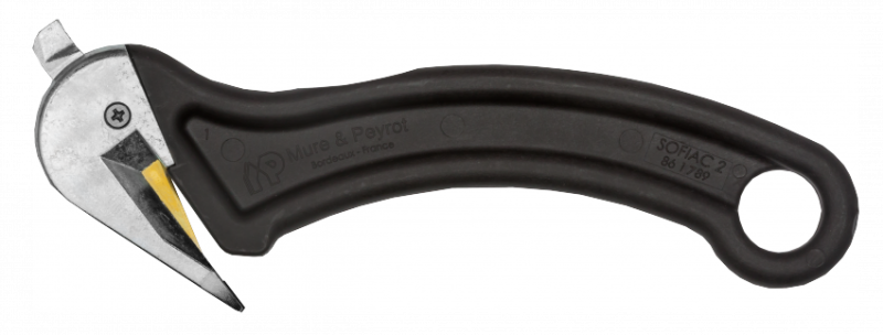 säkerhetskniv från Mure & Peyrot för skärning av förpackningsband och plastfilm formad i förstärkt plast under lång livslängd