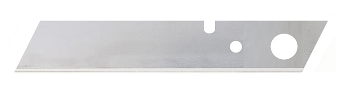 Long snap-off blade with holes to fit safety knife