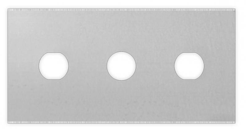 Thick, solid and reliable straight 3-hole carbon steel blade for cutting plastic and films