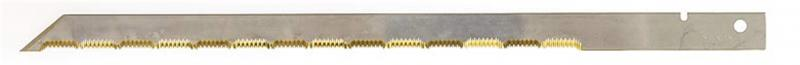 Long and straight knife blade in carbon steel with high chromium content coated with titanium