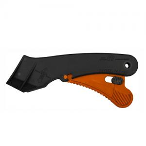 Plastic trigger safety knife with a 90-degree cutting front