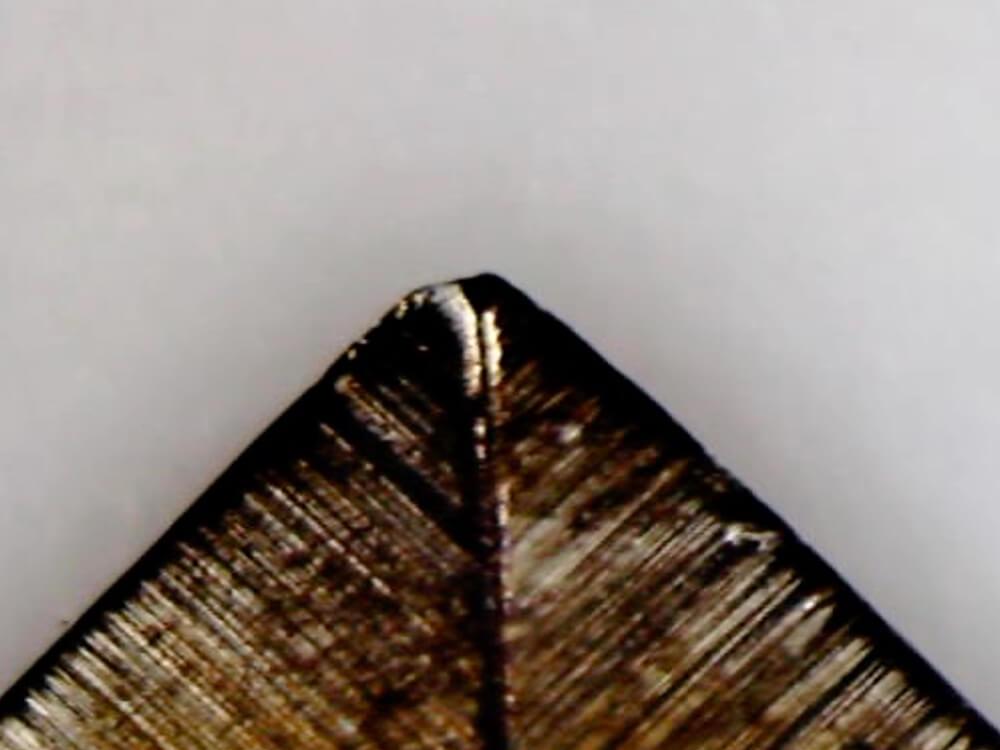 Analys av kraftigt använt spetsblad från sollex