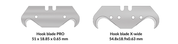 """Picture: The standard size of a hook blade is 51mm long. An """"extra wide"""" hook blade is 55mm long to be able to cut extra thick carpets. Some Stanley knives can use 51mm long hook blades and some cannot."""