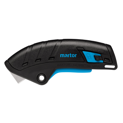 To prevent injury, the safety knife Martor Secupro Merak has automatic restriction knife blade