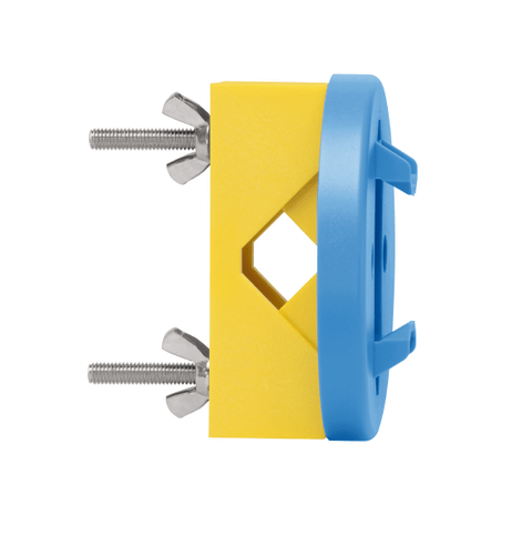 Blue and yellow wall mount bracket from Martor