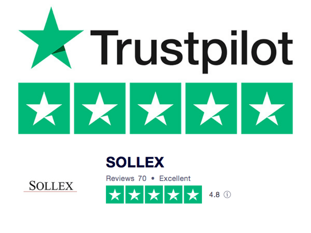 Trustpilot Sollex reviews 4.8 stars - satisfied clients