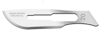 Scalpel Blade from Swann & Morton that is curvy, used in surgery