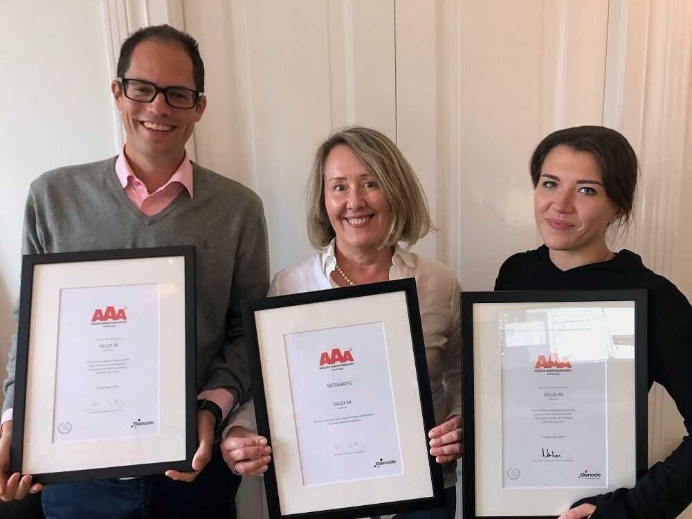 Sollex AB har rating AAA (högsta kreditvärdighet) i Bisnodes kreditvärderingssystem tre gånger i rad 2021-09-28