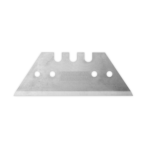 A short and straight knife blade for cutting floor material. A double cut razor blade in quality steel.