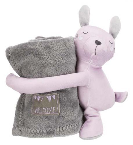 Trixie Junior Cuddly Set Filt/Björn Grå/Ljuslila