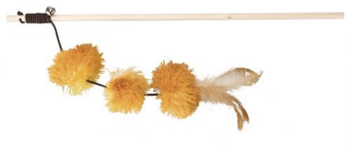 Trixie Kattvippa med Pompom Balls, gul