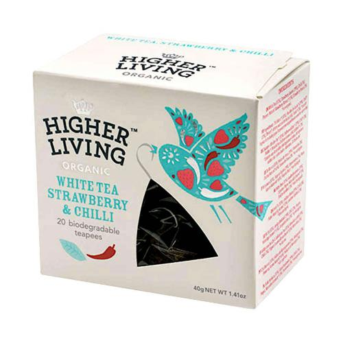 ​Ekologisk Higher Living Vit te jordgubbe & chili 20 Tp