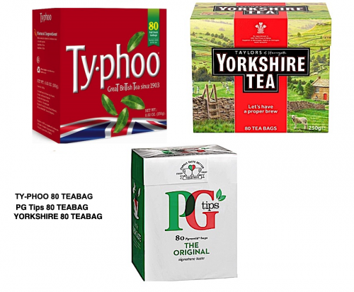 Ty-phoo and PG tips and Yorkshire 80 teabags​​​