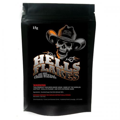Hells Chilli Flakes 15g. Made using over 25 of the worlds hottest chilli's
