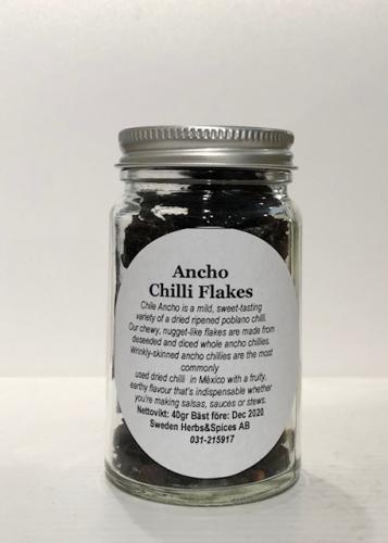 Ancho Chilli Flakes ( Ancho Chili Flingor ) 40gr