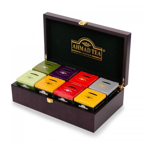Ahmad Tea Keeper Wooden Box with 80-Count Assorted Tea Bags