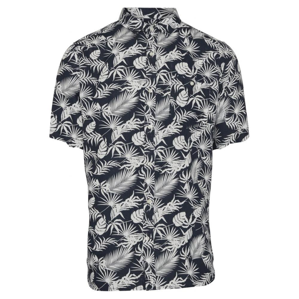 Linen Short Sleeve Shirt With All Over Print/Vegan
