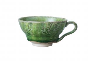 Cup with handle, seaweed