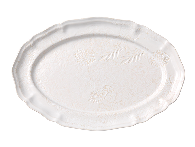 Large oval dish, white