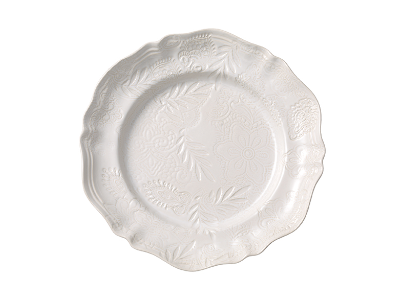 Large round dish, white