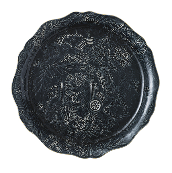 Round serving plate/pizza plate, thunder