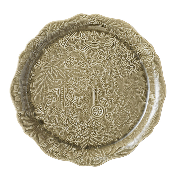 Round serving plate/pizza plate, sand