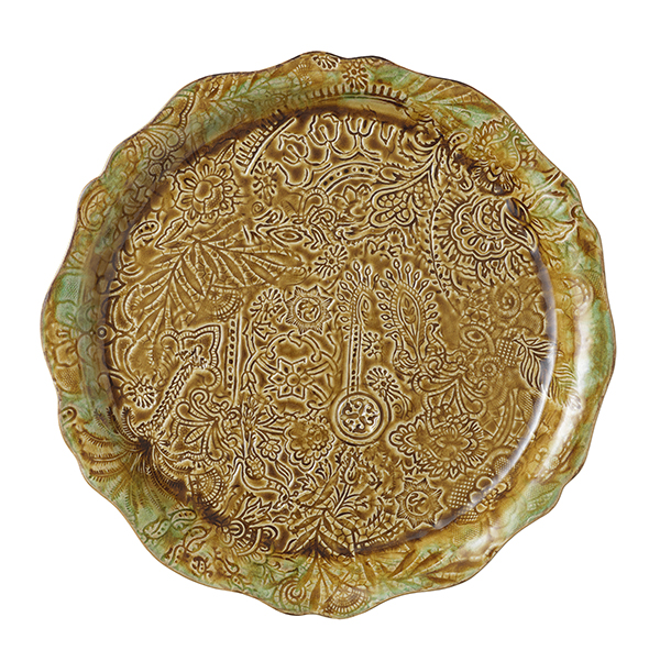 Round serving plate/pizza plate, pineapple