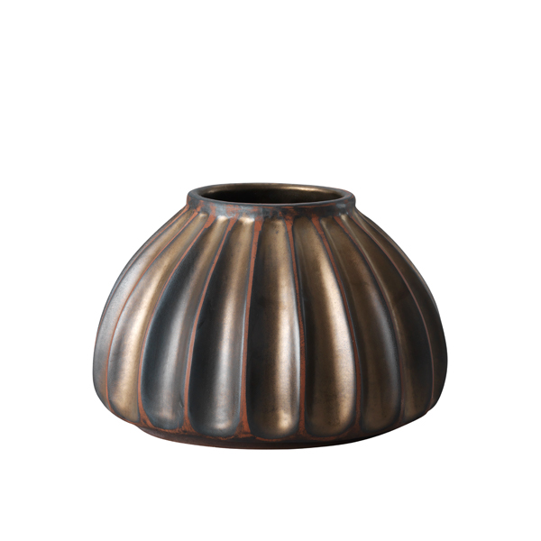 Salon large round vase, bronze