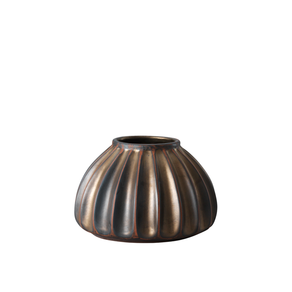 Salon small round vase, bronze