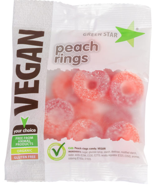 Peachrings, persikor vegan godis