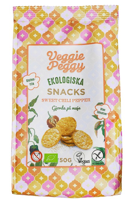Veggie Peggy Majssnacks Sweet Chili Peppar 50 g