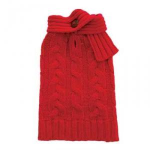 REA! Röd kabelstickad tröja med scarf
