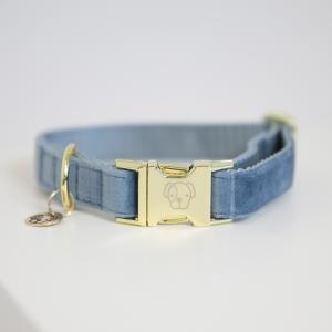 Kentucky Dog Collar Velvet Light Blue