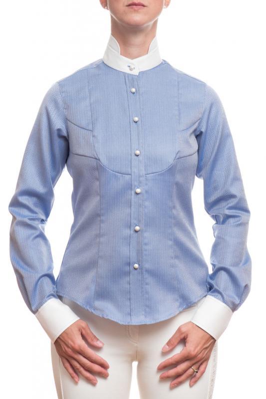 Droska långärmad skjorta Irma blå fiskben