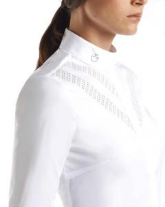 Cavalleria Toscana Womens perforated double V long sleeve shirt