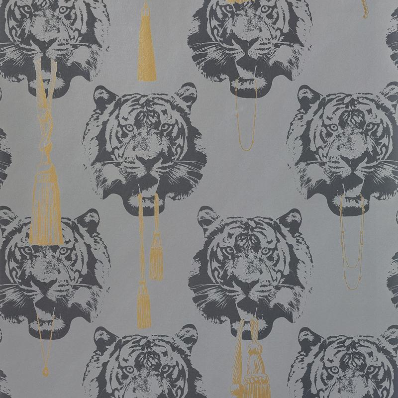 Wallpaper sample Coco tiger grey A4