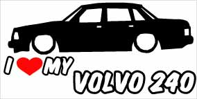 """I Love My Volvo 240"" 100x50 mm"