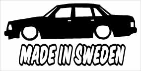 """Made In Sweden Volvo 240"" 100x50 mm"