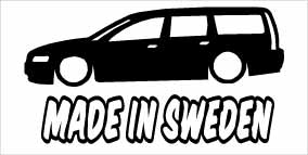 """Made In Sweden Volvo V70"" 100x50 mm"