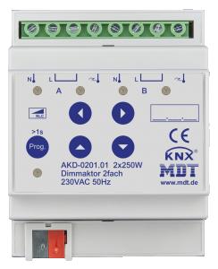 MDT Dimmeraktor 2-kan 250W/50W LED Bryggb. + EM