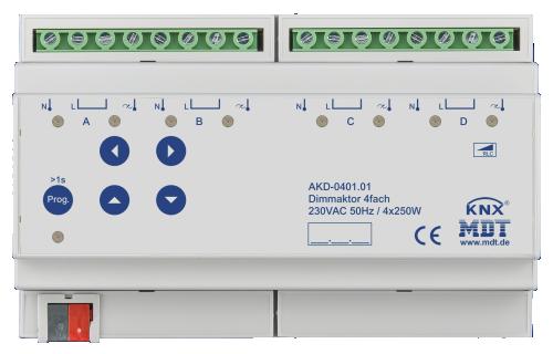 MDT Dimmeraktor 4-kan 250W/50W LED Bryggb. + EM