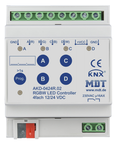 MDT Dimmeraktor 4-kan 12-24V LED RGBW + Relä