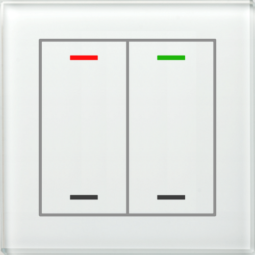 MDT Glass Push Button II Lite 4-kn Neut Vit