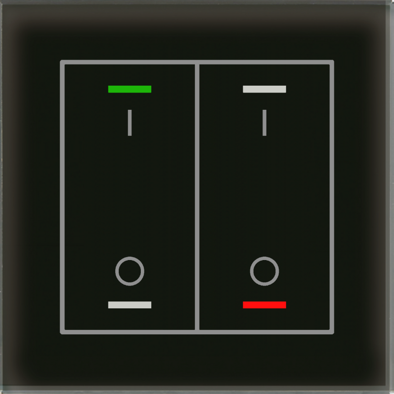 MDT Glass Push Button II Lite 4-kn I/O Svart + t