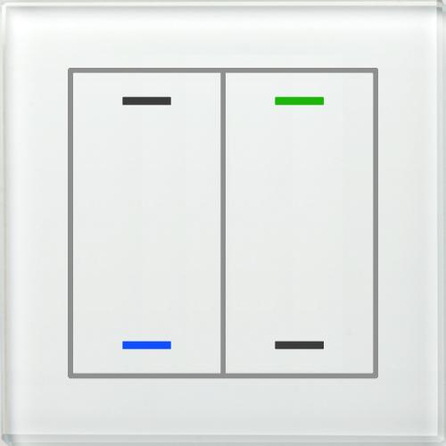 MDT Glass Push Button II Lite 4-kn Neut Vit + temp