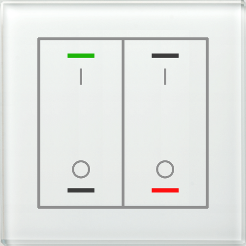 MDT Glass Push Button II Lite 4-kn I/O Vit + temp