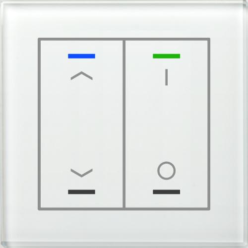 MDT Glass Push Button II Lite 4-kn U/N+I/O Vit + t