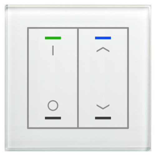 MDT Glass Push Button II Lite 4-kn I/O+U/N Vit + t