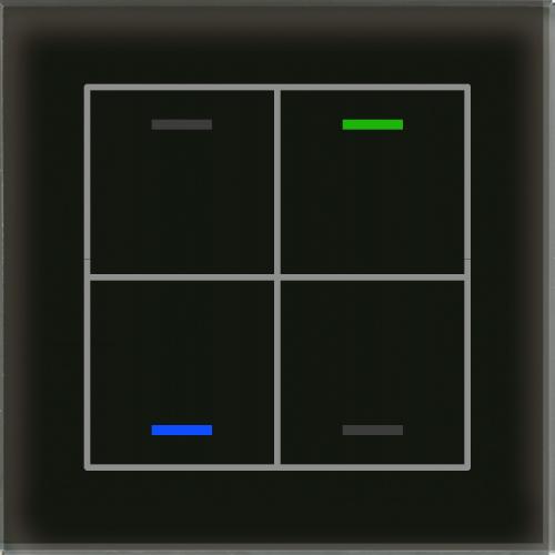 MDT Glass Push Button II Lite 4-kn Neut Sv + temp