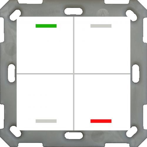 MDT Push Button Lite 55 4-kn Neut Vit blank + temp